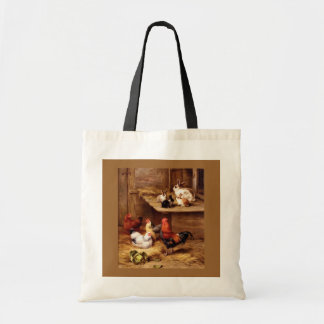 Rabbit rooster hens farm animals bunnies tote bag