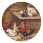 Rabbit rooster hens farm animals plate