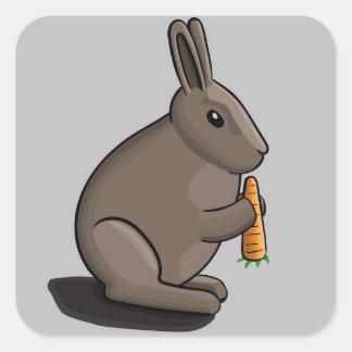 Rabbit Segurando a carrot Square Sticker