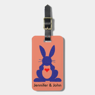 Rabbit Silhouette, Blue Background White Stars. Luggage Tag