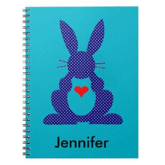Rabbit Silhouette, Blue Background White Stars. Notebook