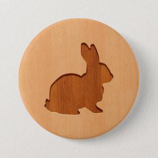 Rabbit silhouette engraved on wood design 7.5 cm round badge
