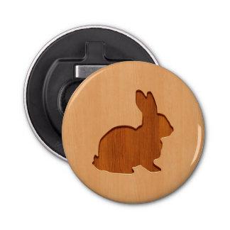 Rabbit silhouette engraved on wood design bottle opener