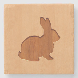Rabbit silhouette engraved on wood design stone beverage coaster