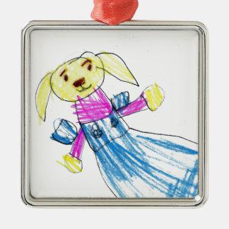 Rabbit Silver-Colored Square Decoration