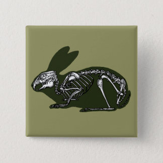 rabbit skeleton 15 cm square badge