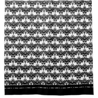 Rabbit Standing on a Rose Damask Pattern Shower Curtain