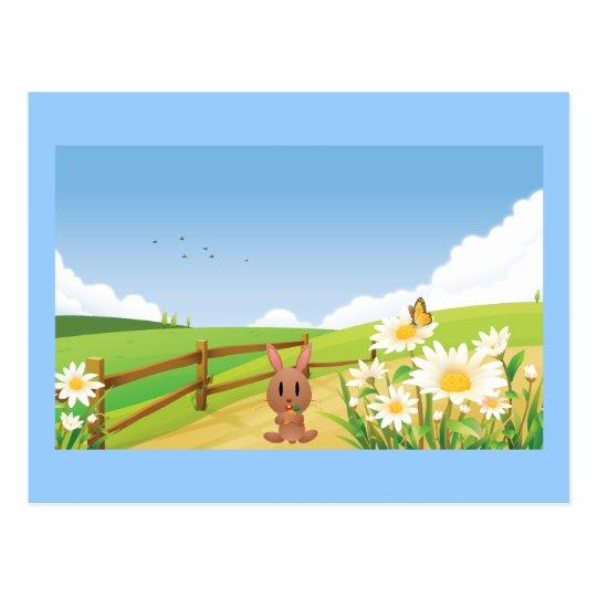 Rabbit Summer Blue Sky Nature Happy Flower Cute Postcard