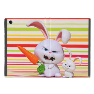 Rabbit with carrot and baby rabbit illustration iPad mini case