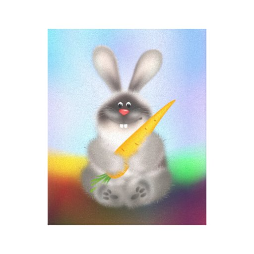 Rabbit with Carrot Stretched Canvas Print