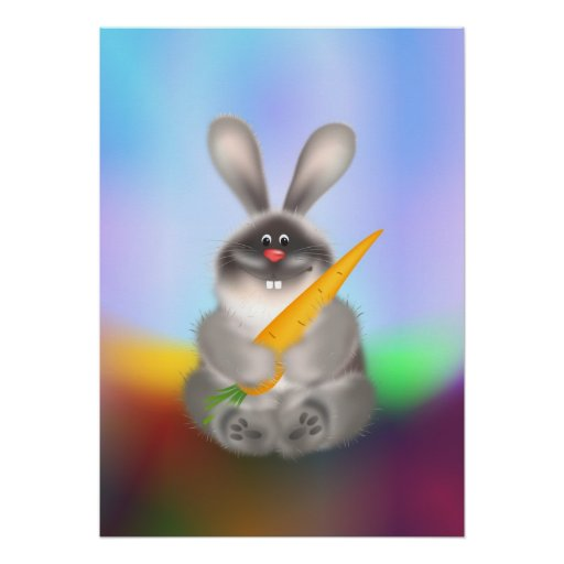 Rabbit with Carrot Posters