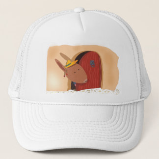 Rabbit with cherry hat, light beige trucker hat