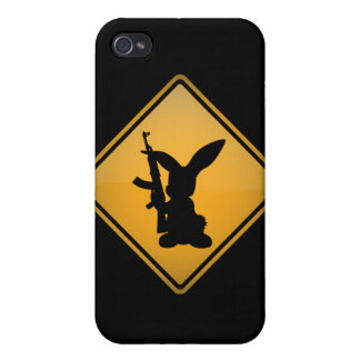 Rabbit with Gun Warning Sign iPhone 4 Case