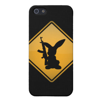 Rabbit with Gun Warning Sign iPhone 5/5S Cases