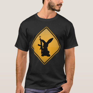 Rabbit with Gun Warning Sign T-Shirt