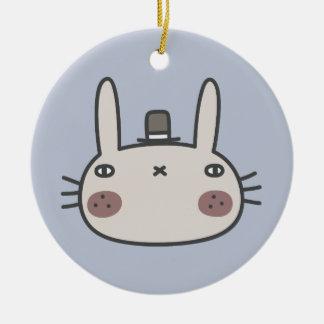 Rabbit With Hat Round Ceramic Decoration