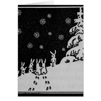 Rabbits and Christmas Tree Winter Illustration Greeting Card
