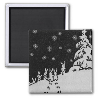 Rabbits and Christmas Tree Winter Illustration Square Magnet