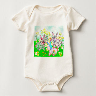 Rabbits and flowers baby bodysuit