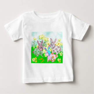 Rabbits and flowers baby T-Shirt