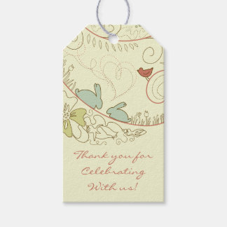 Rabbits and Flowers Neutral Thank You Baby Shower Gift Tags
