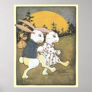Rabbits and Rising Sun Poster