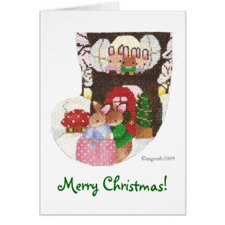 Rabbits at home for Christmas! Card