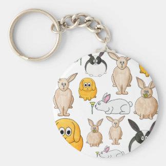 Rabbits. Basic Round Button Key Ring