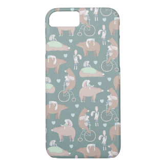 Rabbits, Bears, and Bicycles Pattern iPhone 7 Case