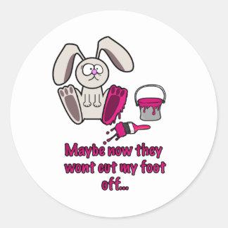 Rabbits Foot Funny Cartoon Classic Round Sticker