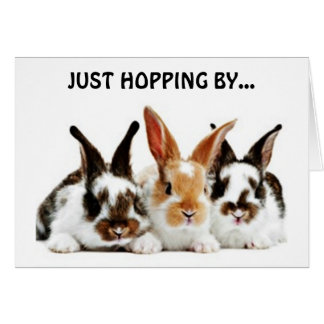 RABBITS HOPPING BY TO WISH YOU A HAPPY BIRTHDAY CARD