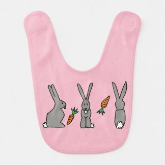 Rabbits In A Row Baby Bib