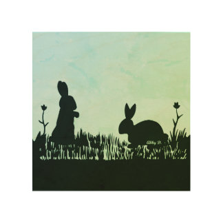 "Rabbits in Meadow Silhouette Wood Wall Art 8""x8"""