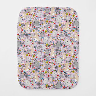 Rabbits in Pink Burp Cloth