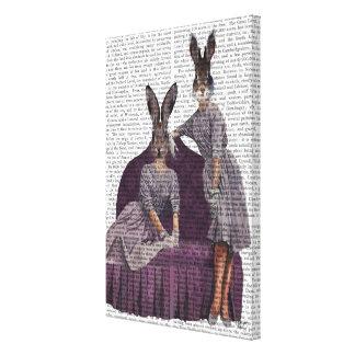 Rabbits in Purple Canvas Print