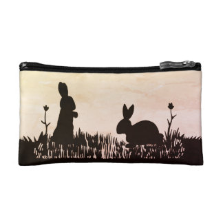 Rabbits in the Meadow Silhouette Accessory Bag