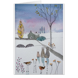 Rabbits in the Snow Greetings Cards