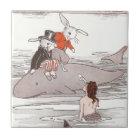 Rabbits Riding Whale Meet Mermaid Tile