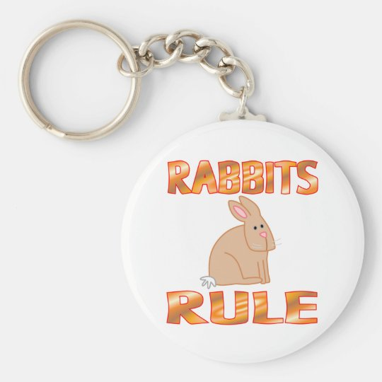 RABBITS RULE BASIC ROUND BUTTON KEY RING