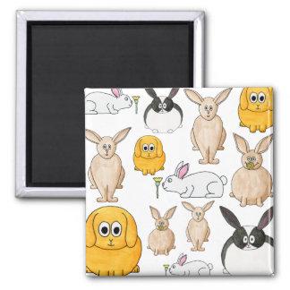 Rabbits. Square Magnet