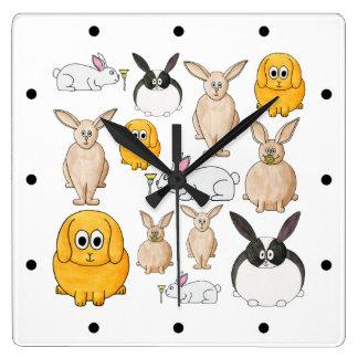 Rabbits. Square Wall Clock