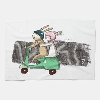 Rabbits travel tea towel