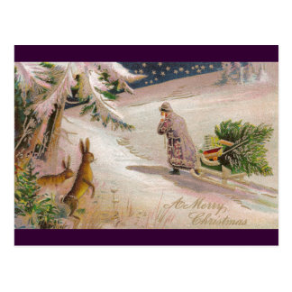 Rabbits Watch Santa in Purple Coat Pull Sled Postcard