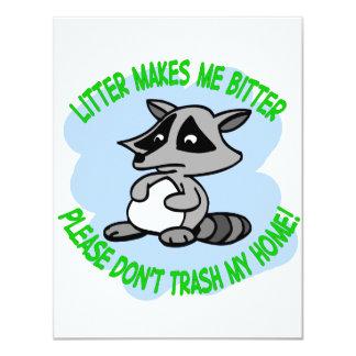 raccoon 11 cm x 14 cm invitation card