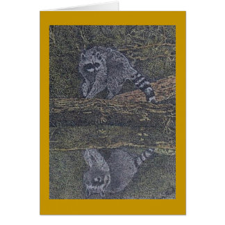 raccoon and reflection card