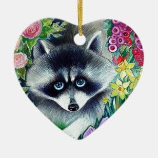 Raccoon and tulips christmas tree ornament