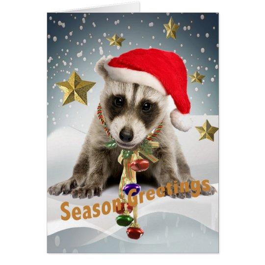 RACCOON BABY XMAS Season Greetings 2 Card
