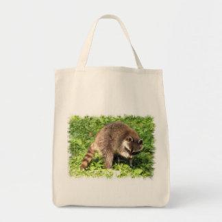 Raccoon Bathing Grocery Tote Grocery Tote Bag