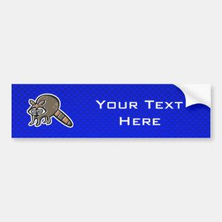 Raccoon; Blue Car Bumper Sticker