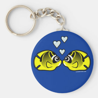 Raccoon Butterflyfish Love Basic Round Button Key Ring